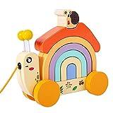Nedyet Schnecke Traktor Regenbogen Haus Kleinkind Holz Push Pull Spielzeug Pädagogisches Stapelspielzeug Stimulieren Kreativität Kognitive Fähigkeiten Für 3 + Baby