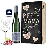 Leonardo Weinglas Beste Mama der Welt inkl. bedruckter Holzkiste + Riesling Tandem - Geschenk für Mama ideal als Muttertagsgeschenk auch als Geburtstagsgeschenk