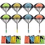 FUNVCE 8 Stück Fallschirm Spielzeug Kinder, Fallschirmspringer Hand werfen Fallschirm Outdoor Flugspielzeug Geschenk für Kinder, Wurf Parachute Spiele für Draußen
