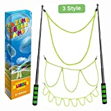 E-Know Riesenseifenblasen-3 Stile Seifenblasen-Stab für Seifenblasen Partei-Edelstahl machte das teleskopische Entwurfs-einfache Tragen für Garten Spielzeug Outdoor Spielzeug