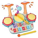 Rabing Kindertrommel Set, 5 in 1 Baby Musical Trommel & Klavier Toy Musik Schlagzeug mit Blinkenden Lichtern und Mikrofon, Kinder Musik Frühpädagogisches Spielzeug für 1-6 Jahre
