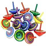 LISOPO 15 Stück Kreisel aus Holz Holzkreisel Spielzeug Bunt Spielzeugkreisel Mitgebsel Kindergeburtstag Partybeutelfüller Partydekorationszubehör