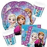 Disney Frozen 36-teiliges Party-Set Eiskönigin Nordlichter - Teller Becher Servietten für 8 Kinder